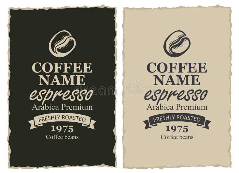 Duas etiquetas para feijões de café no estilo retro ilustração royalty free