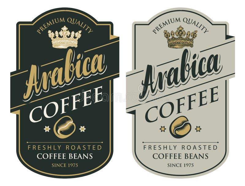 Duas etiquetas para feijões de café no estilo retro ilustração do vetor