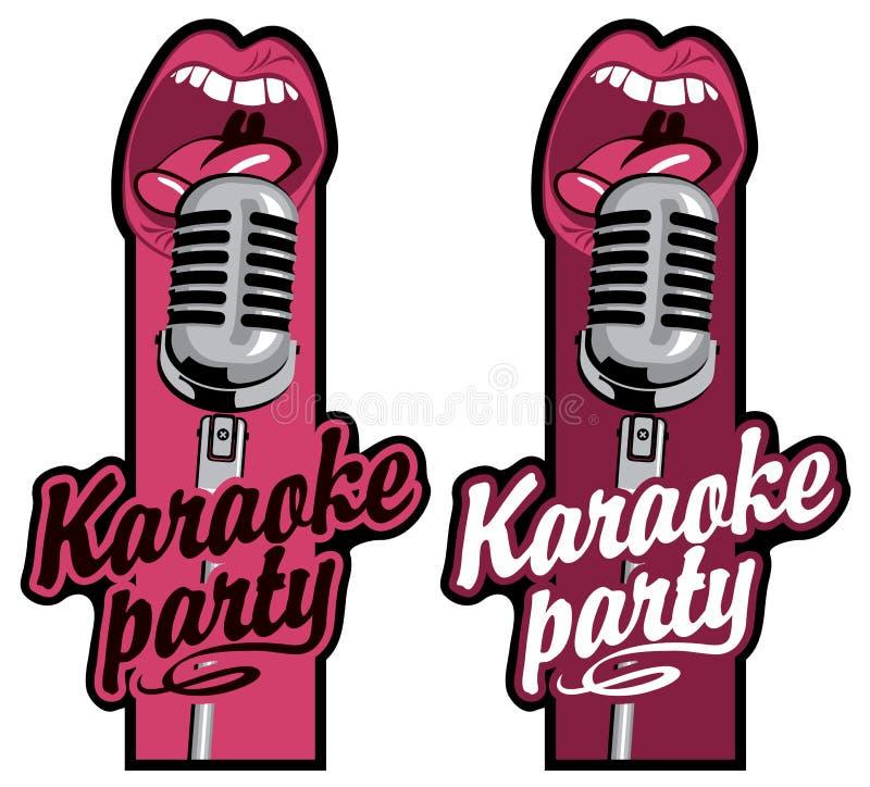Duas etiquetas para o partido do karaoke com mic e boca ilustração do vetor