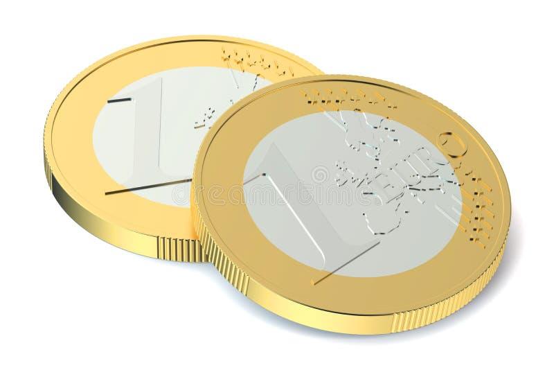 Duas euro- moedas ilustração royalty free