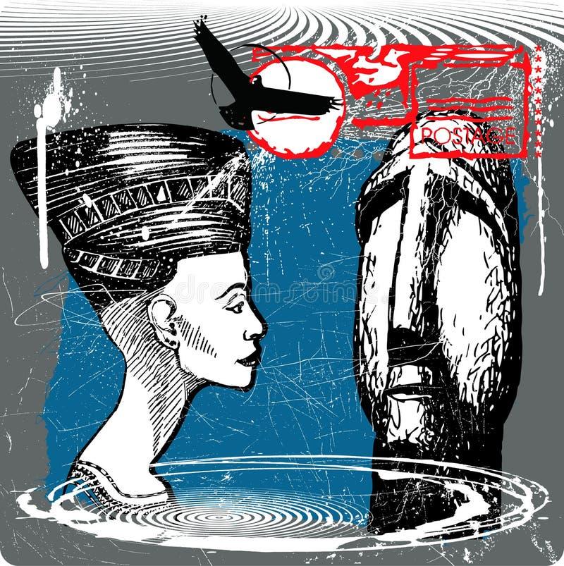 Download Duas faces ilustração do vetor. Ilustração de fundo, sculpt - 10057783