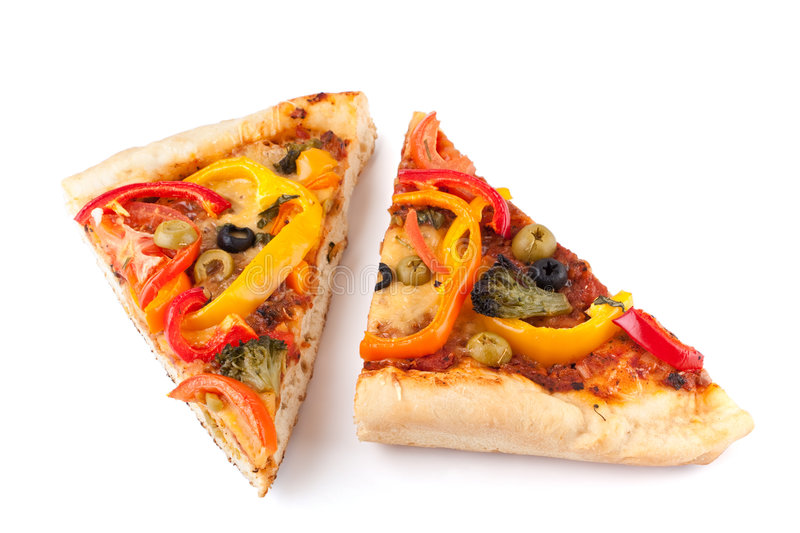 Duas fatias vegetais da pizza foto de stock royalty free