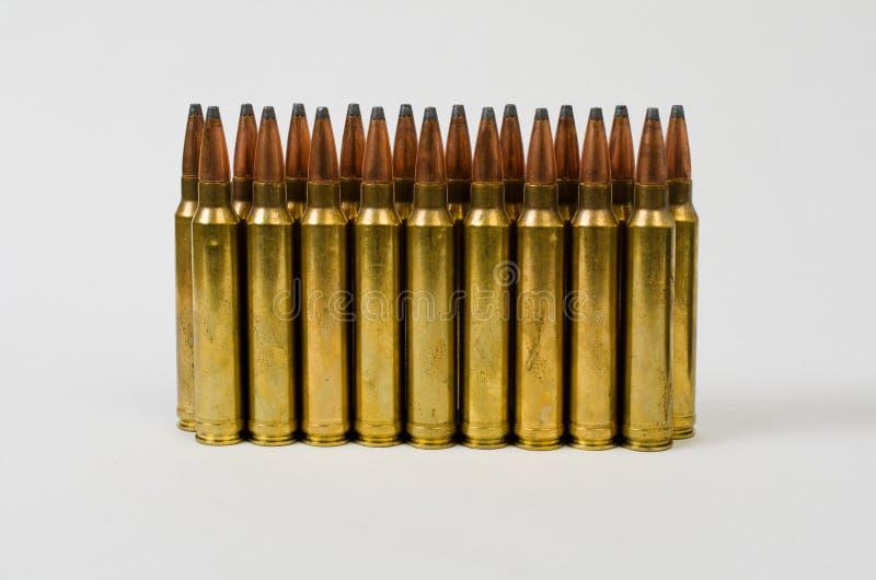 Duas fileiras das balas imagens de stock