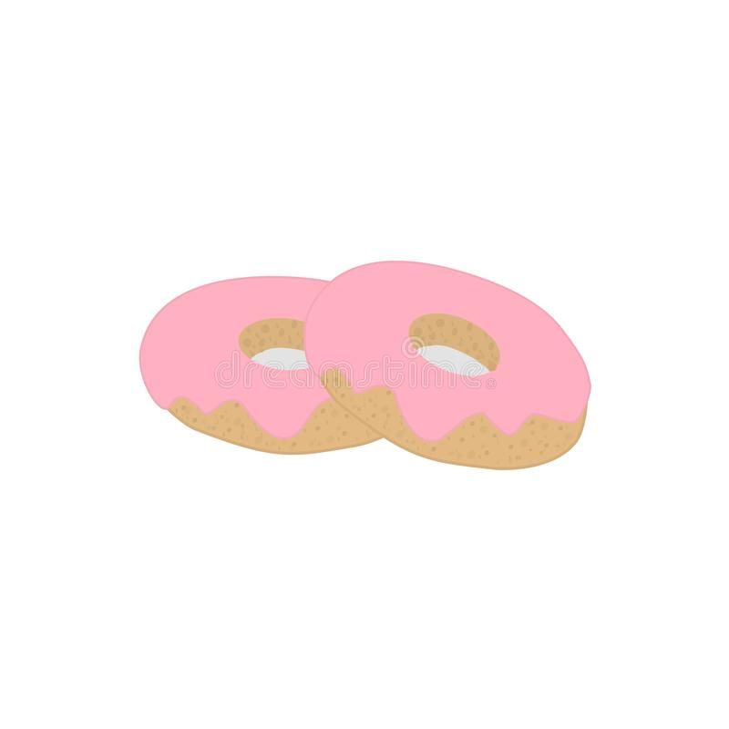 Duas filhóses com crosta de gelo cor-de-rosa, vetor ilustração do vetor