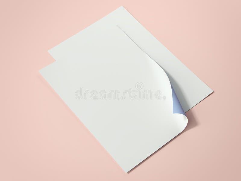 Duas folhas de papel brilhantes rendição 3d ilustração royalty free