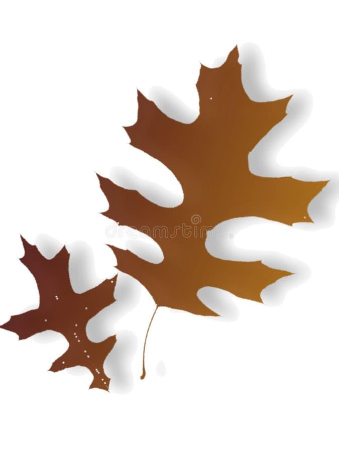Duas folhas marrons ilustração stock