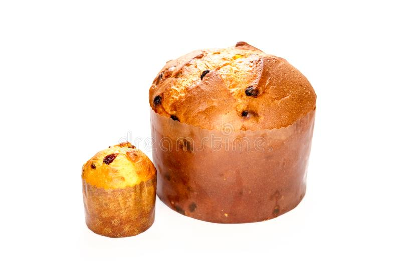 Duas formas diferentes Panettone, bolo do Natal isolado no branco fotos de stock royalty free