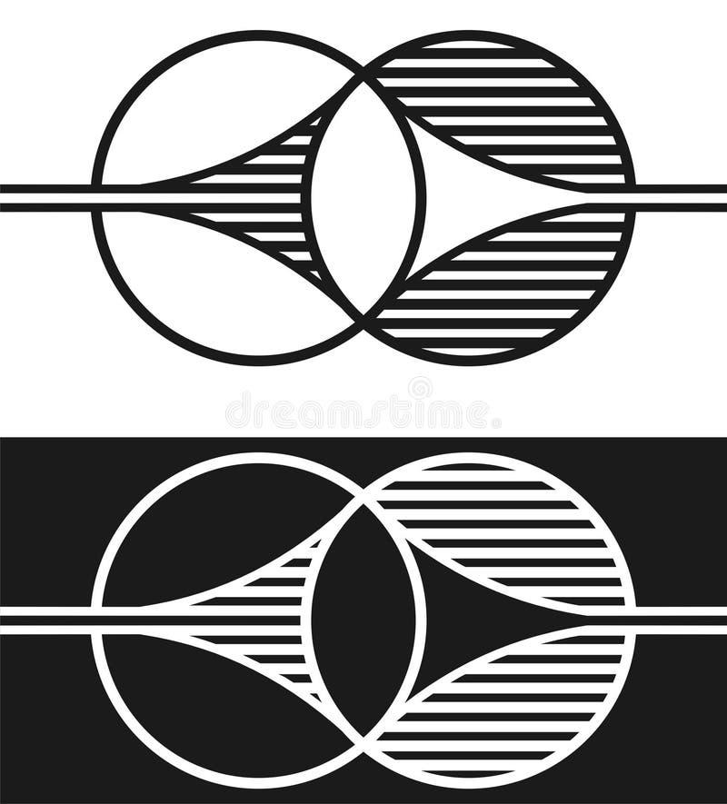 Duas formas que fundem um com o otro ilustração stock