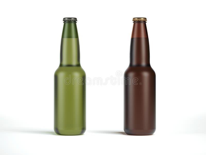 Duas garrafas de cerveja sem etiquetas rendição 3d ilustração royalty free