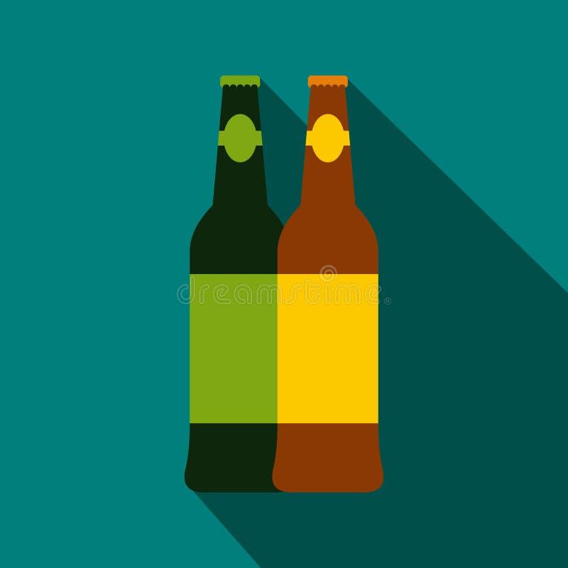 Duas garrafas do ícone da cerveja, estilo liso ilustração stock