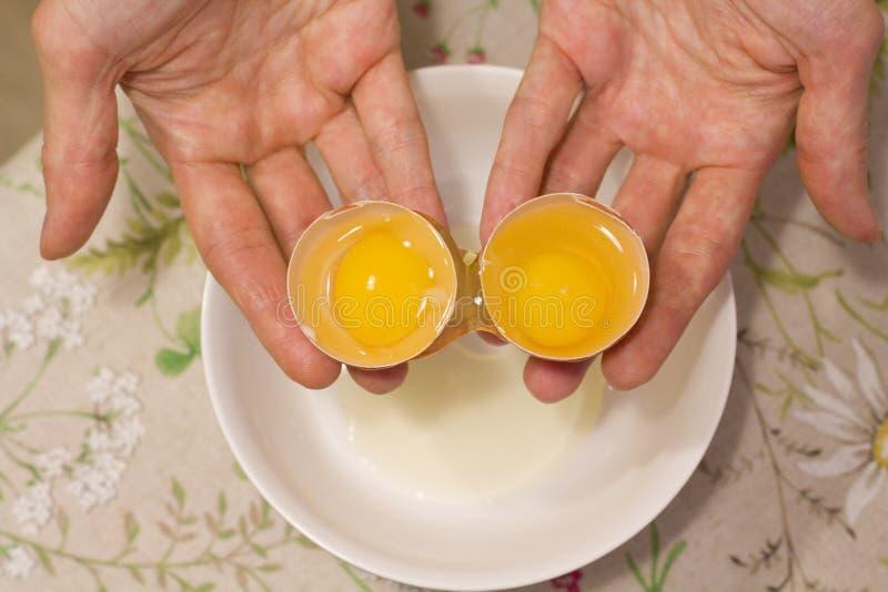 Duas gemas em um ovo 2 em 1 As mãos das mulheres abrem um ovo original com duas gemas O processo de abrir ovos para fazer o bolo, imagens de stock royalty free