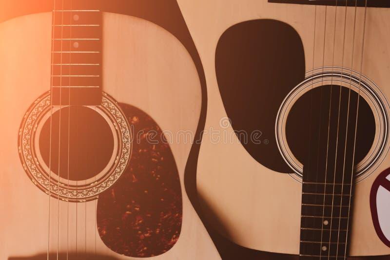 Duas guitarra acústicas Close-up foto de stock royalty free