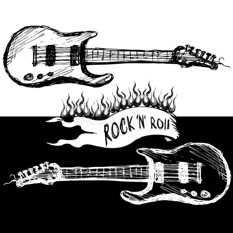 Duas guitarra, preto e branco ilustração do vetor