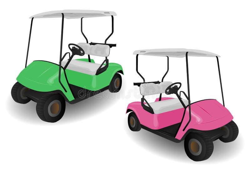 Duas ilustrações dos carrinhos do carro de golfe ilustração do vetor