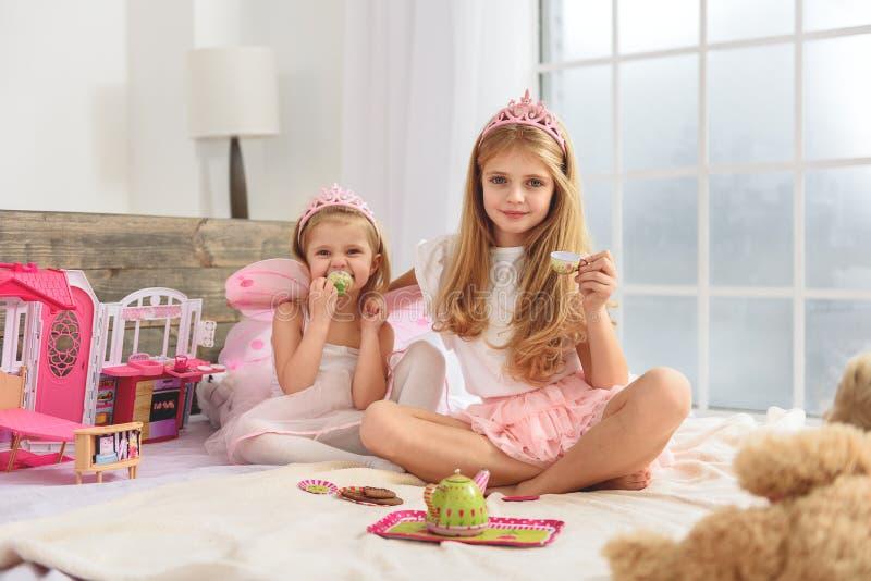 Duas irmãs amigáveis que têm o tea party imagem de stock royalty free