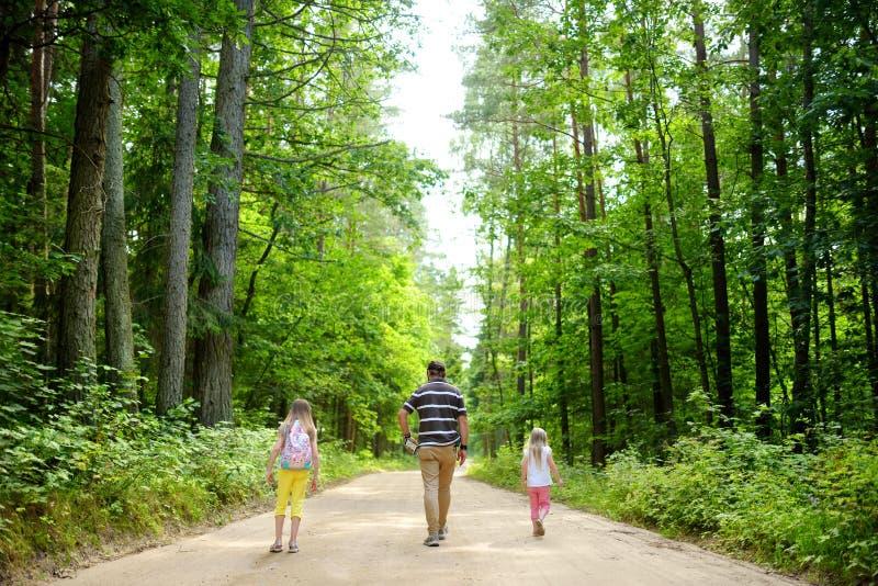 Duas irmãs mais nova bonitos que caminham em uma floresta com seu pai no dia de verão bonito fotos de stock royalty free