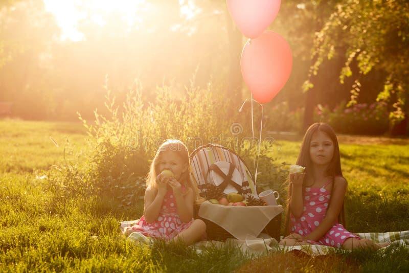 Duas irmãs no piquenique que comem o fruto foto de stock