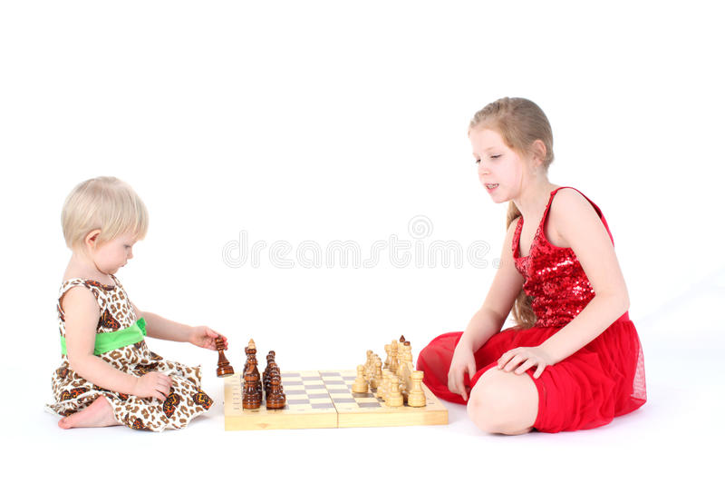 Duas irmãs pequenas adoráveis fotografia de stock royalty free
