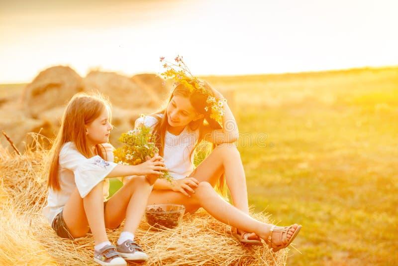 Duas irmãs que passam o tempo no campo imagem de stock royalty free