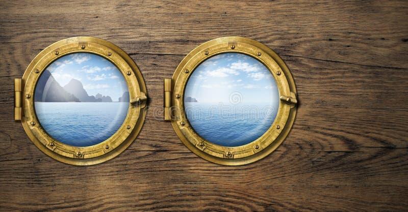 Duas janelas do navio com a ilha tropical do mar ou do oceano imagens de stock royalty free