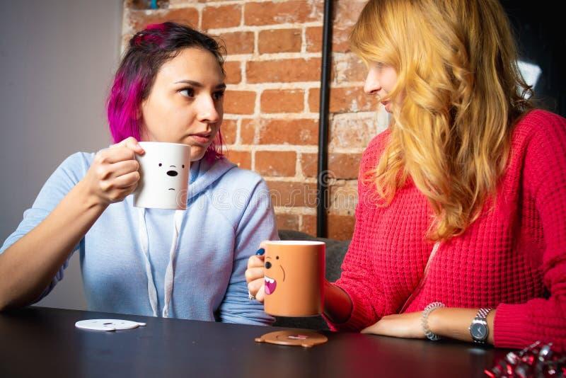 Duas jovens mulheres com os copos da fala do chá e do café fotografia de stock