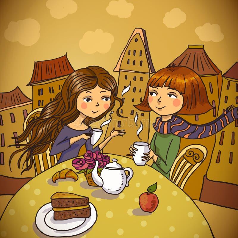 Duas jovens mulheres que bebem o café no café ilustração do vetor