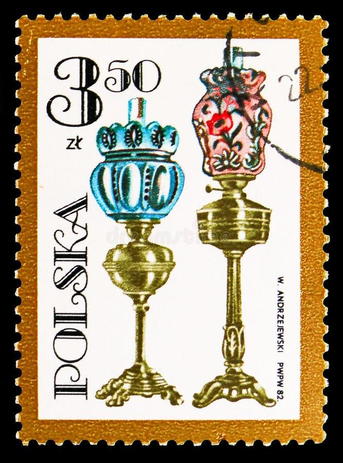Duas lâmpadas de óleo com reguladores, vário serie das lâmpadas de óleo, cerca de 1982 ilustração royalty free