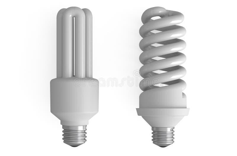 Duas lâmpadas fluorescentes compactas ilustração do vetor