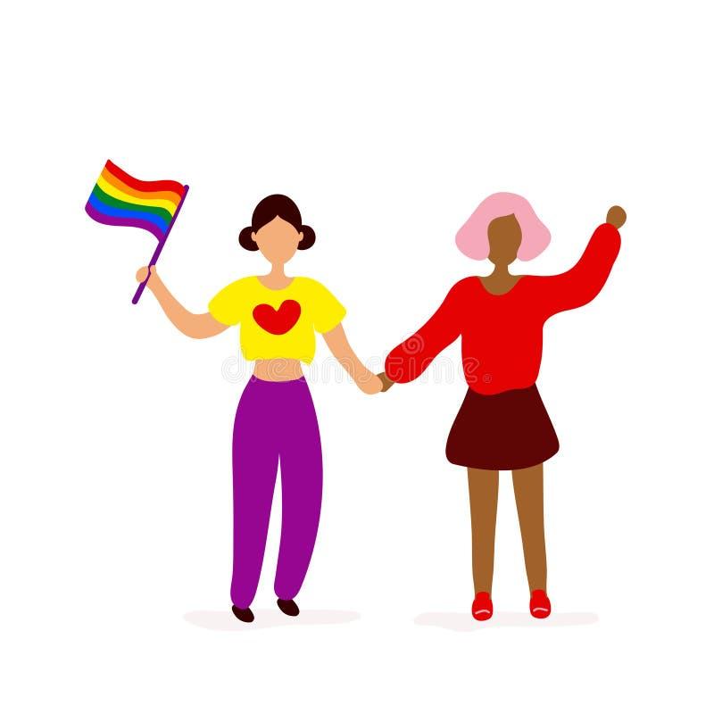 Duas l?sbica com a bandeira de LGQBQ que guarda as m?os ilustração do vetor