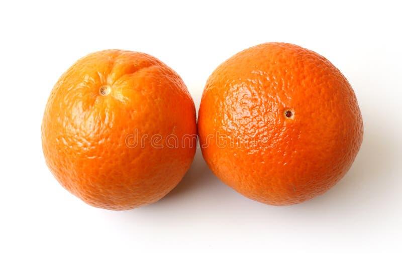 Duas laranjas inteiras foto de stock
