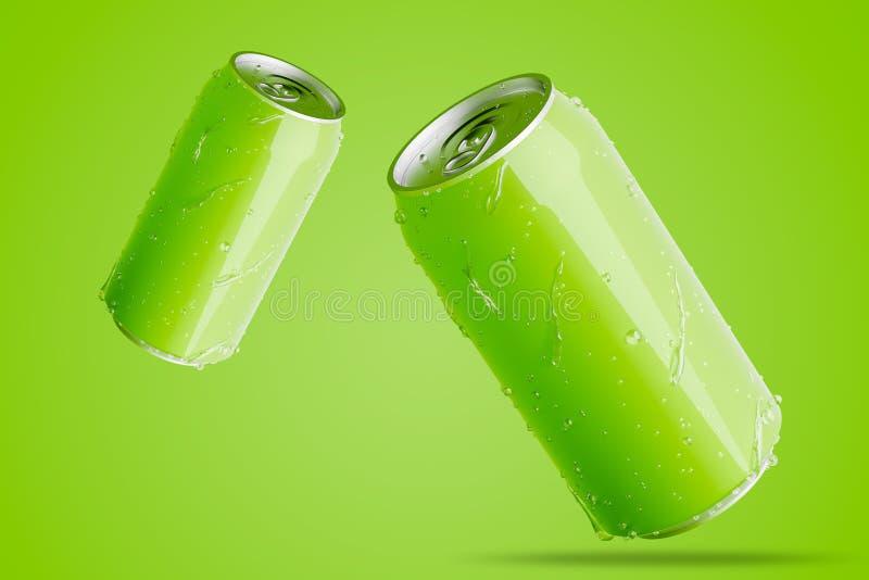 Duas latas de alum?nio verdes com gotas da ?gua ilustração stock