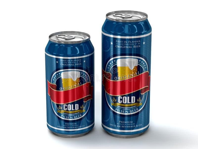 Duas latas de cerveja em branco genéricas ilustração stock