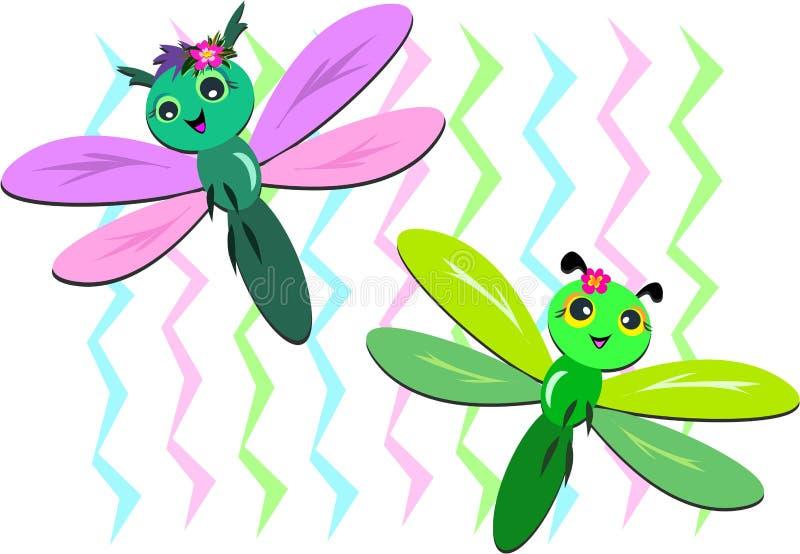 Duas libélulas com fundo do ziguezague ilustração stock