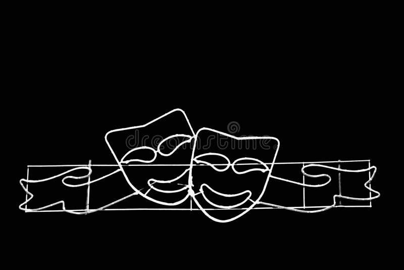 Duas máscaras de sorriso preto e branco foto de stock