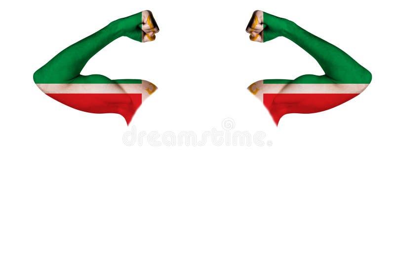 Duas mãos cinzeladas com os músculos pintados de uma mostra da bandeira de Chechnya como um sinal da força, da força e da prontid ilustração do vetor
