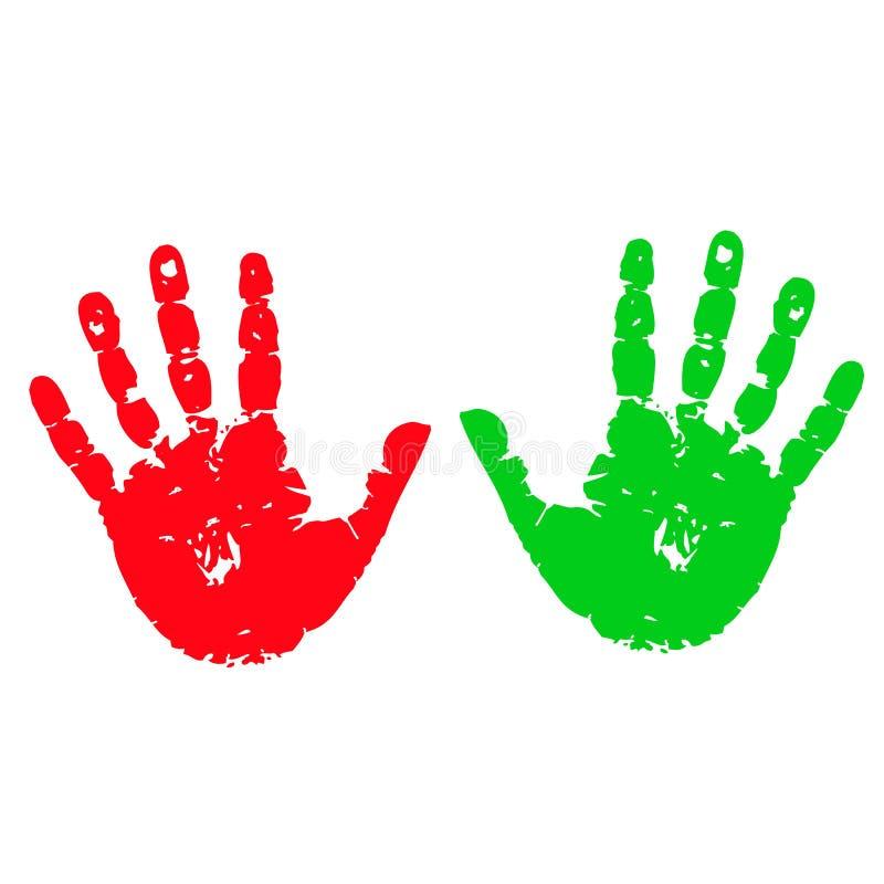 Duas mãos coloridas - ilustração stock