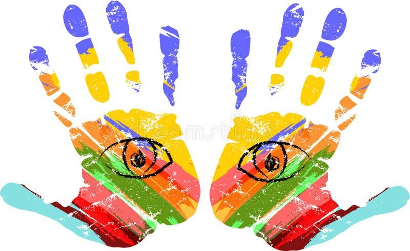 Duas mãos com olhos, ilustração do vetor