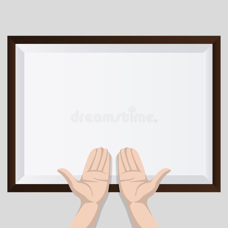 Duas mãos com sombra e quadro marrom ilustração royalty free