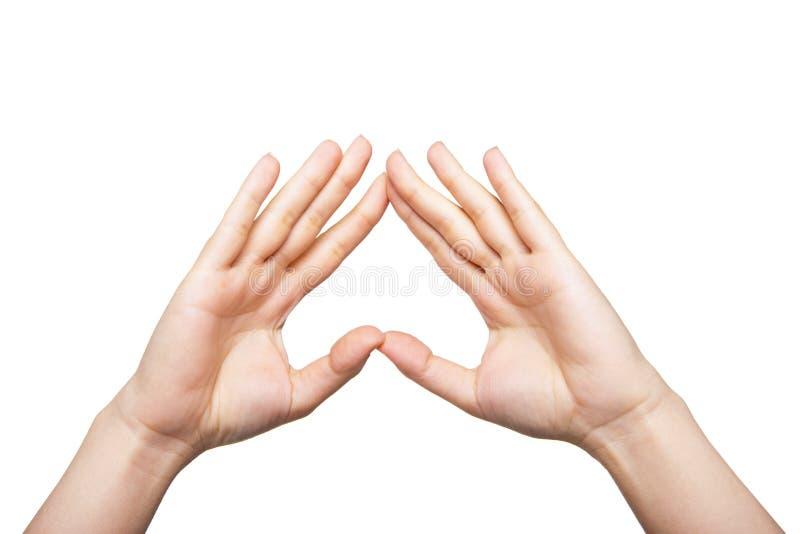 Duas mãos da mulher acima imagens de stock