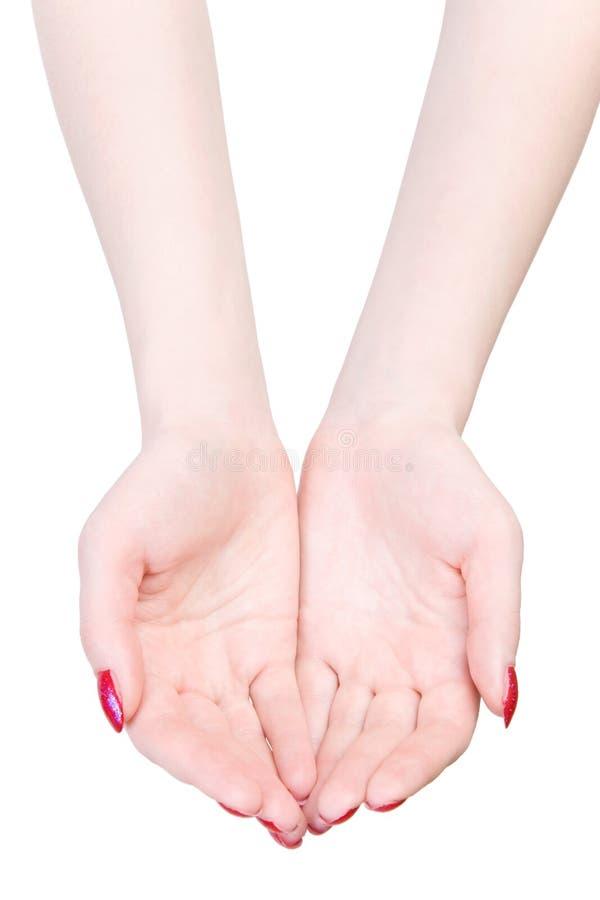 Duas mãos da mulher em esticar o pose imagem de stock