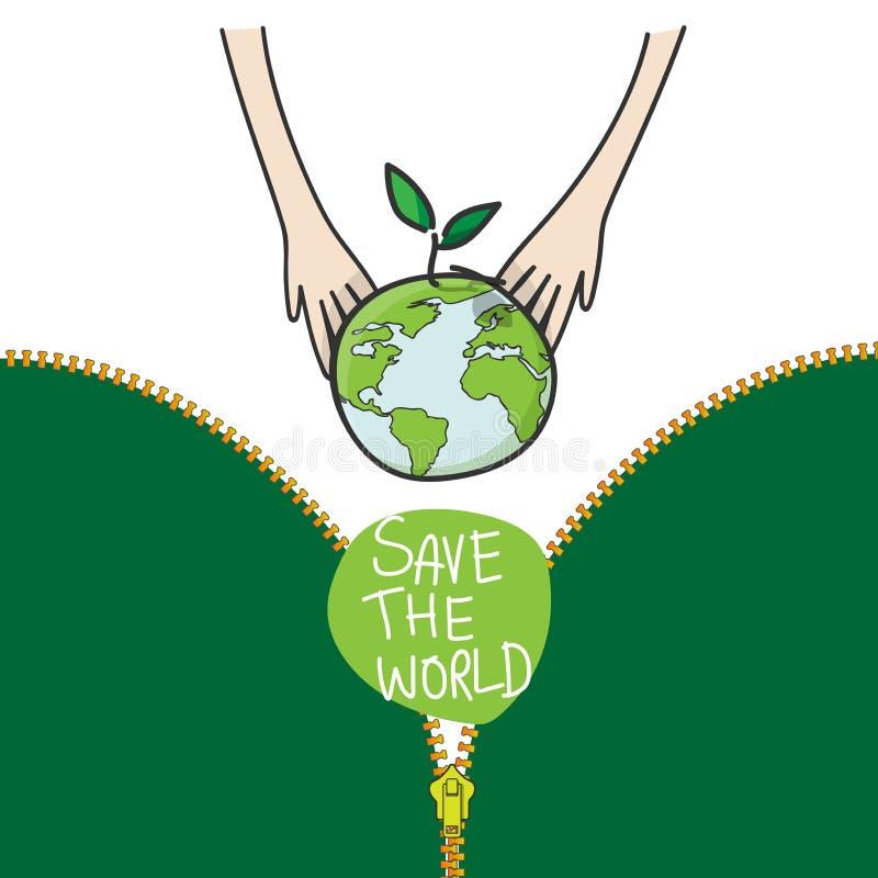 Duas mãos das crianças que plantam o globo e a árvore verdes para a conservação da natureza de salvamento do ambiente, conceito d ilustração do vetor