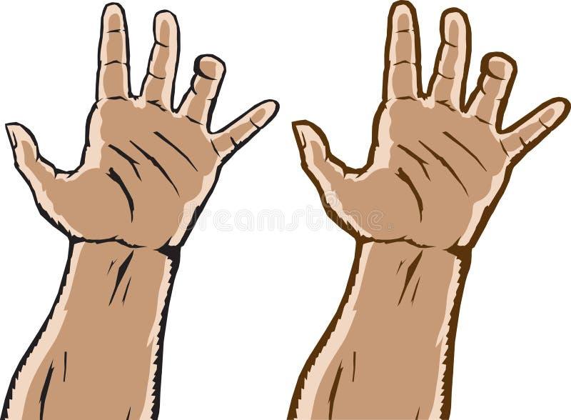 Duas mãos de agarramento ilustração do vetor