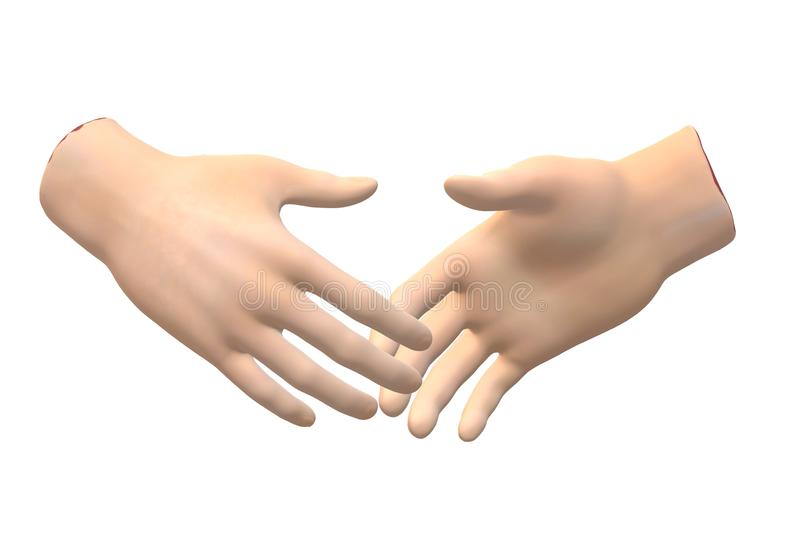 Duas mãos de agitação que alcançam para fora para se ilustração royalty free