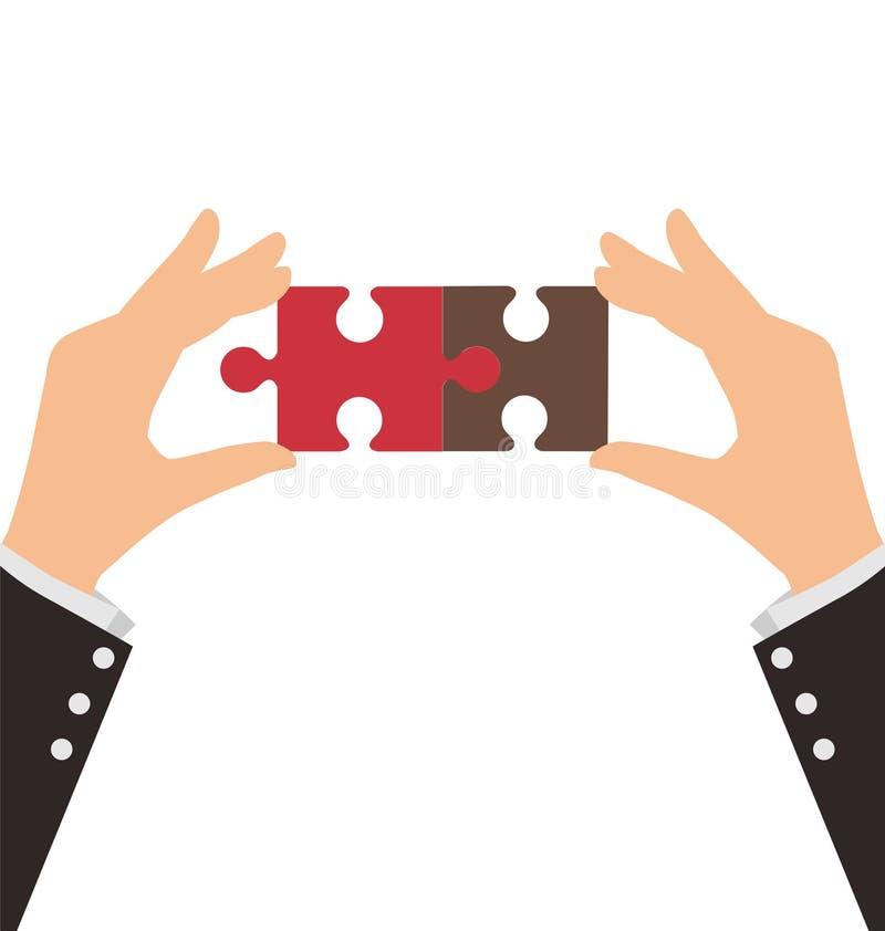 Duas mãos do negócio conectam duas partes de enigma ilustração do vetor