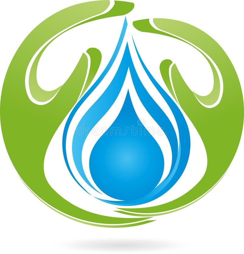 Duas mãos, gotas, água, natureza, logotipo ilustração royalty free