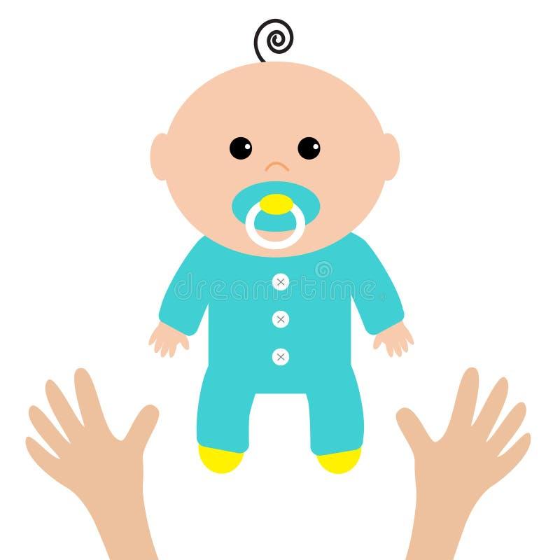 Duas mãos humanas Cuidado da matriz Cartão do chuveiro de bebê Ele ` s um menino Estilo liso do projeto Fundo branco Isolado ilustração stock