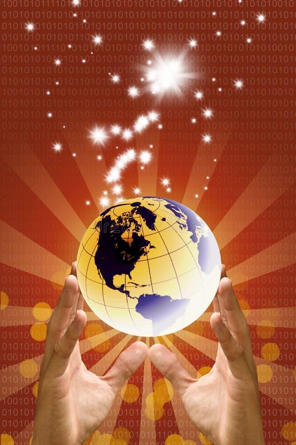 Duas mãos levantam acima o mundo com luz da faísca, mundo feliz fotos de stock royalty free