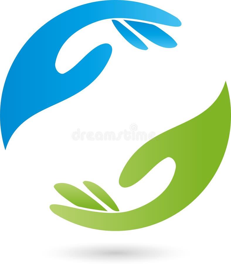 Duas mãos no logotipo verde e azul, da massagem e do bem-estar ilustração stock
