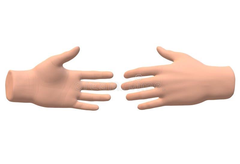 Duas mãos que alcançam para fora para se ilustração stock