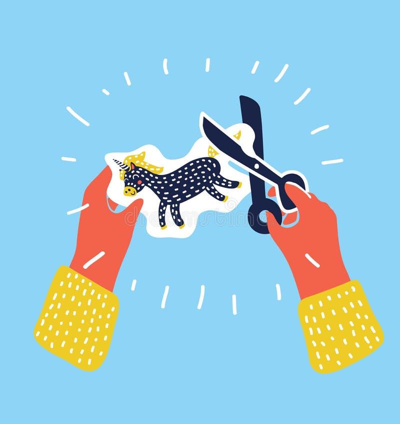Duas mãos que cortam o papel com as tesouras para o Applique, escola primária Art Class Vetora Illustration ilustração royalty free